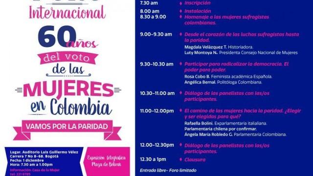 Se conmemoran 60 años del voto de las mujeres en Colombia.