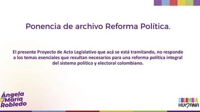 Ponencia de archivo al Proyecto de Reforma Política. Nov 2018