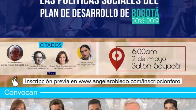 Inscripción al foro sobre las políticas sociales del Plan de Desarrollo de Bogotá 2016-2019